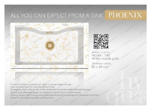سینک گرانیتی فونیکس مدل 140 - سفید مرمر طلایی