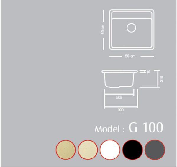 مشخصات و قیمت خرید سینک گرانیتی گرانیکو مدل G100