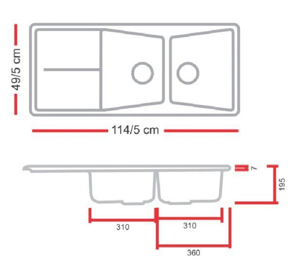 مشخصات و قیمت خرید سینک گرانیتی گرانیکو مدل G880