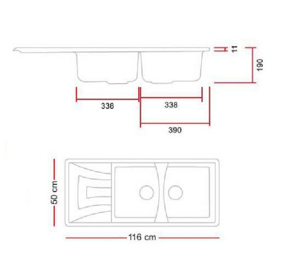 مشخصات و قیمت خرید سینک گرانیتی گرانیکو مدل G840