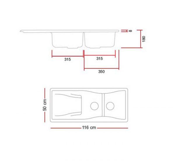 مشخصات و قیمت خرید سینک گرانیتی گرانیکو مدل G810
